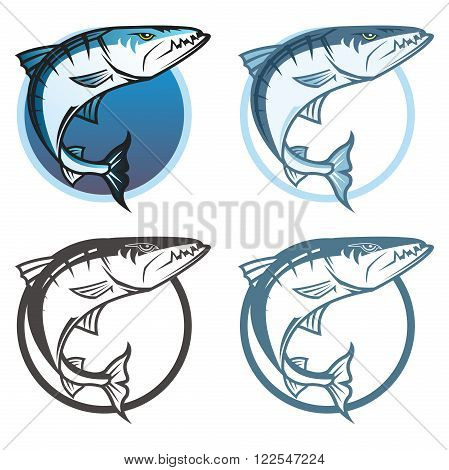 Vector Retro Fishing Logo Template, isolated on white background