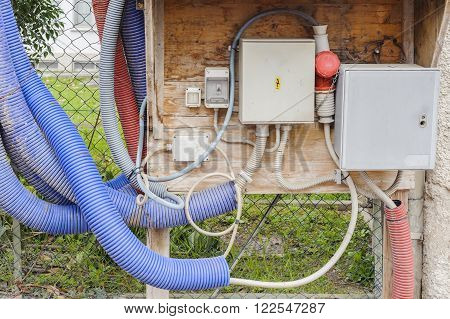 Temporary Electrical Panel On A Building Site