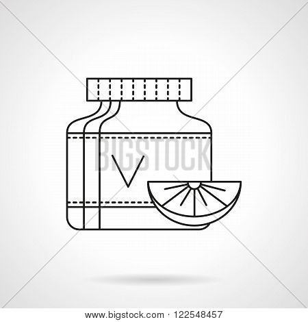 Vitamins can flat thin line vector icon