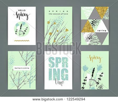 Set of artistic creative spring cards. Hand Drawn and gold glitter textures. Design for poster card invitation placard brochure flyer. Vector.