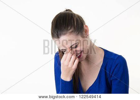 Woman Giggles Covering Her Mouth With Hand Isolated