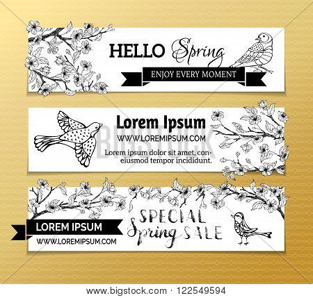 Vector Set Of Horizontal Spring Banners.