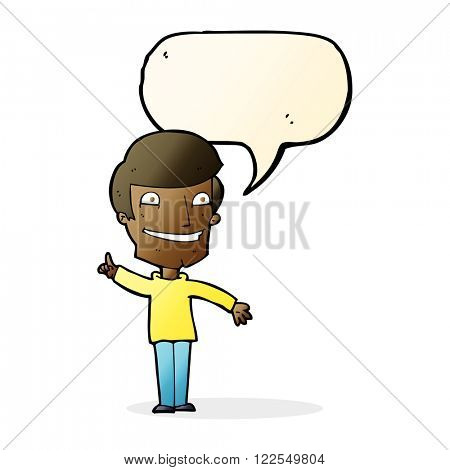 cartoon grinning man with idea with speech bubble