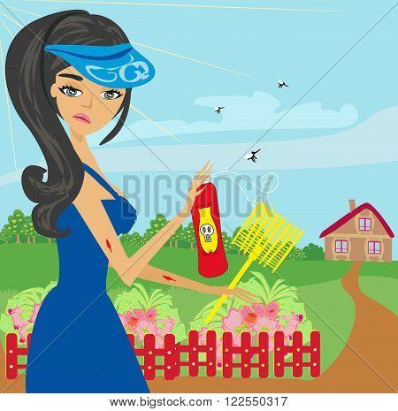 mosquito bites girl in the garden , vector illustration