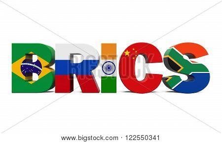 BRICS Concept Illustration isolated on white background. 3D render