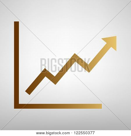 Growing bars graphic sign. Flat style icon with golden gradient