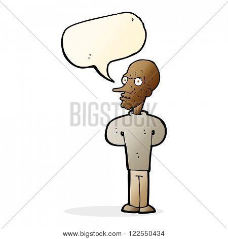 cartoon evil bald man with speech bubble