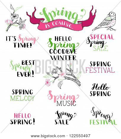 Hello spring. Goodbye winter. It's spring time. Best spring ever. Spring melody. Special spring sale. Spring festival. Spring music. Spring is coming.