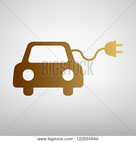 Eco electrocar sign. Flat style icon with golden gradient