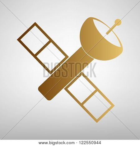 Satellite sign. Flat style icon with golden gradient