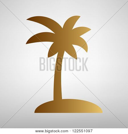 Coconut palm tree sign. Flat style icon with golden gradient