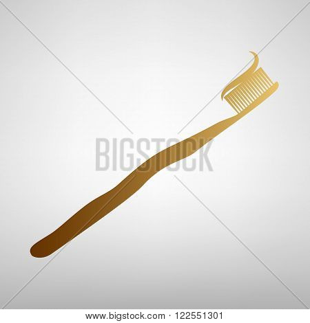 Toothbrush with applied toothpaste portion. Flat style icon with golden gradient