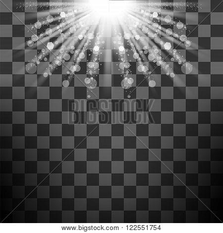 Vector Transparent Sun Light on Checkered Background. Shiny Sunburst of Sunbeams.