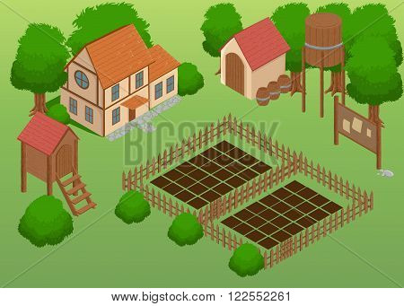 Isometric farm. Elements for game. Farm elements.Garden Detailed illustration of a Isometric Farm Farm toy blocks modeling.