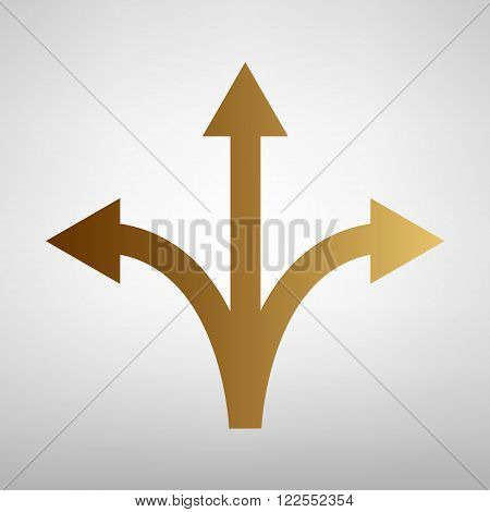Three-way direction arrow sign. Flat style icon with golden gradient