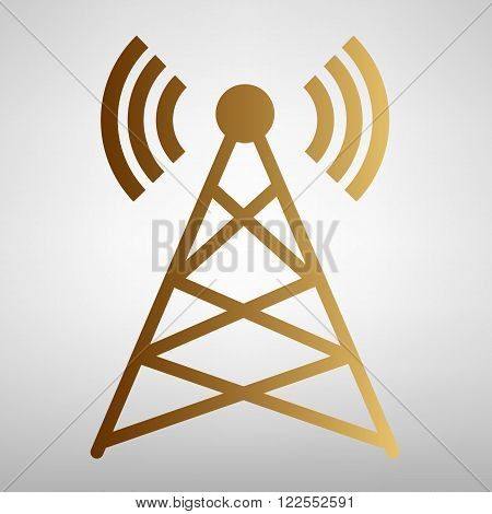Antenna sign. Flat style icon with golden gradient