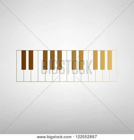 Piano Keyboard sign. Flat style icon with golden gradient