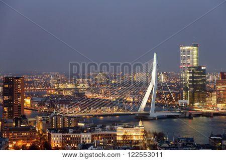 ROTTERDAM NETHERLANDS - MAR 16 2016: Evening view on the Erasmus bridge in Rotterdam