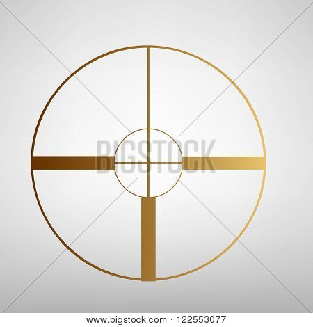 Crosshair Target  sign. Flat style icon with golden gradient