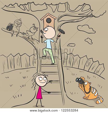 International Bird Day Man hangs birdhouse in tree. Nesting box. Cartoon illustration in vector format