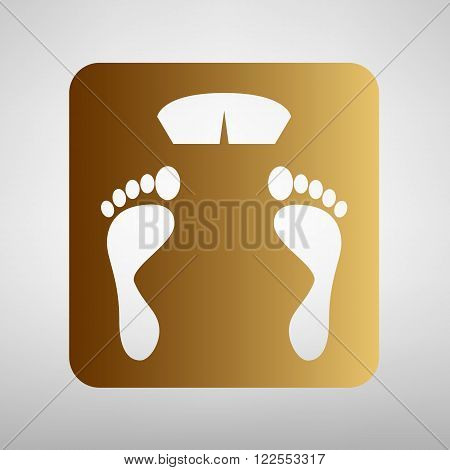 Bathroom scale sign. Flat style icon with golden gradient