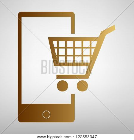 Shoping on smart phone sign. Flat style icon with golden gradient