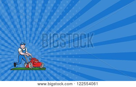 Business card showing illustration of a gardener wearing hat and overalls with lawnmower mowing lawn viewed from front set on isolated white background done in cartoon style.