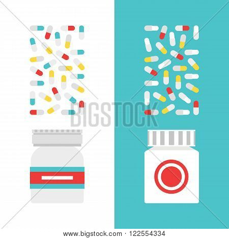 Vector medicine bottles. Medicine bottles for pills. Medicine bottles isolated on light background. Medical vector illustration. Vector pills bottles in flat style.