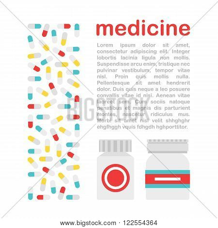 Medicine flat vector illustration. Vector medicine treatment. Medicine treatment set in a flat style. Disease and medical treatment. Flat medicine icons.