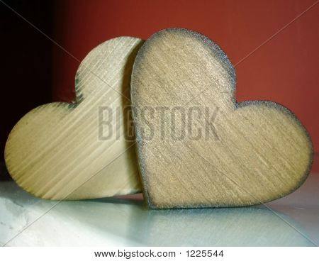 Two Wood Hearts