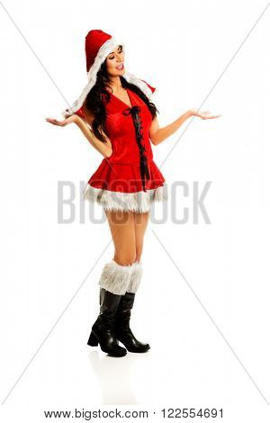 Santa woman holding something in both hands