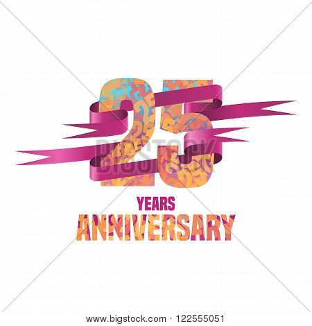 Vector design for 25 years anniversary celebration. 25th logo with ribbon