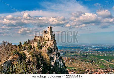 San Marino republic, Italy. Rocca della Guaita, medieval castle on Titano mount