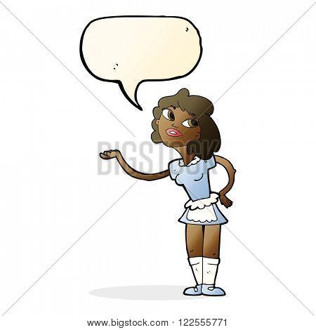 cartoon waitress serving with speech bubble