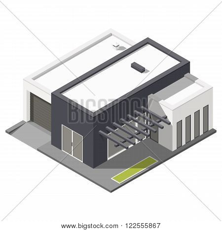 One-storey house with flat roof isometric icon set vector graphic illustration