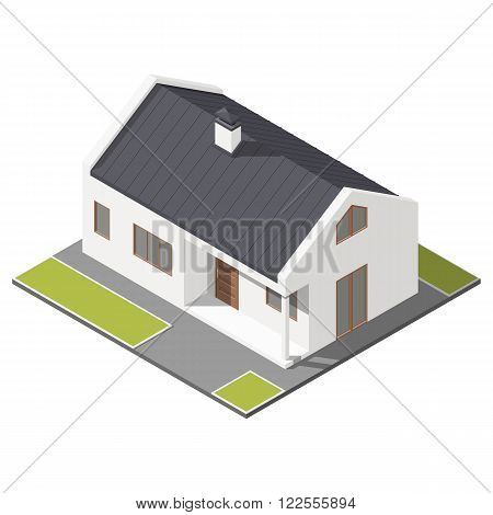 One-storey house with slant roof isometric icon set vector graphic illustration