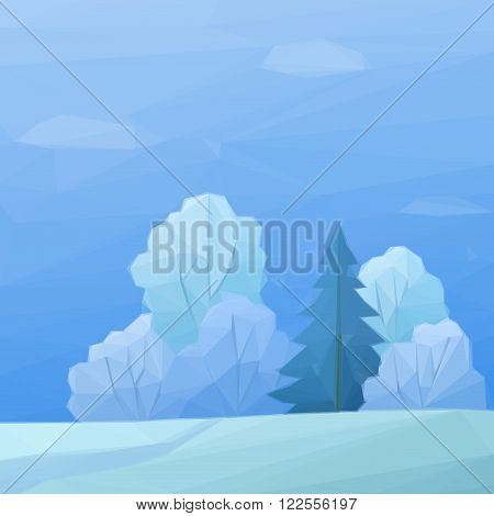 Christmas Landscape, Low Poly Winter Forest with Coniferous and Deciduous Trees and Snow. Vector