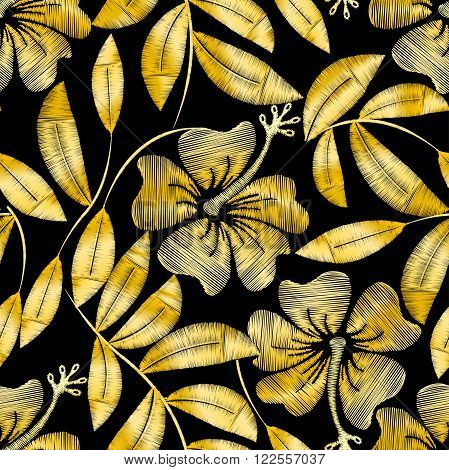Tropical gold embroidery hibiscus plant in a seamless pattern .