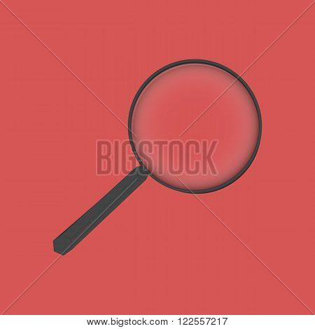Single magnifier on red background, flat design magnifier