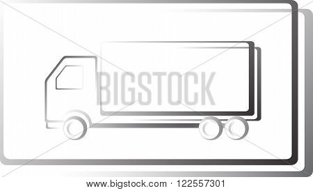 moving truck icon in frame on white background