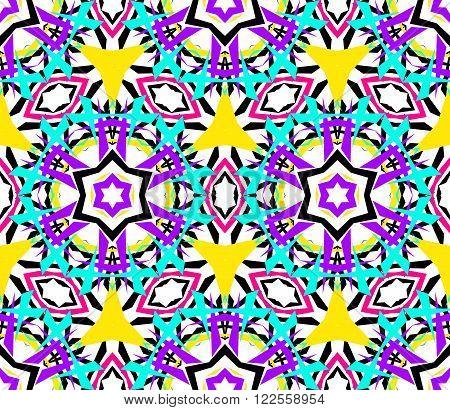 Kaleidoscope Flower Pattern. Vibrant mandala geometric background. Fashionable graphic print. Fractal star flowers. Neon colors, psychedelic design. Colorful geometric ornament. Vector background.