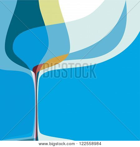 Restaraunt, bar cover for menu, abstract composition with wine glass
