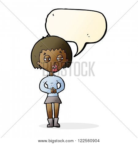 cartoon suspicious girl with speech bubble