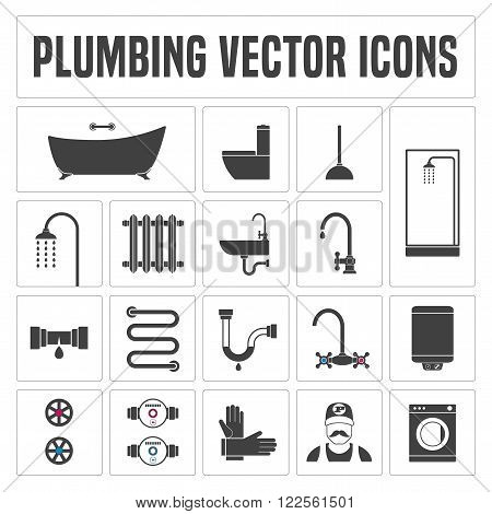 Collection of vector plumbing symbols and icons. Illustrations of droplet pipes faucet handyman bathtub