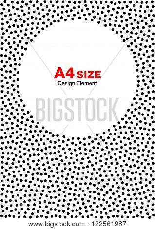 Abstract Halftone Dots Frame. Circle Background. A4 size, a4 format. Vector illustration