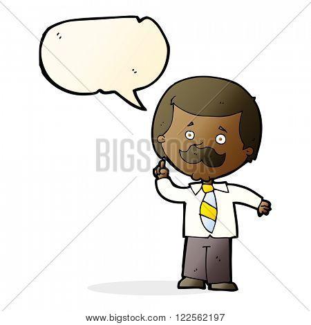 cartoon newsreader man with idea with speech bubble