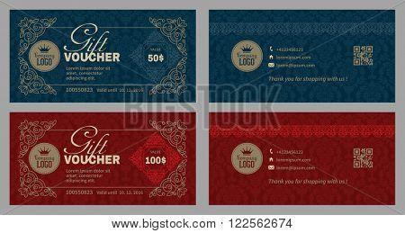 Gift Voucher Template in Luxury Style. Gift Voucher on Background with Damask Ornament and Vignette. Front Side of Gift Voucher and Back Side. Gift Certificate. Vector illustration.