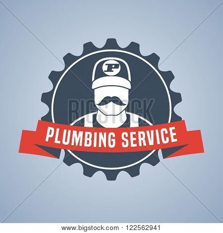 Vector plumbing service logo sign. Eyecatching design
