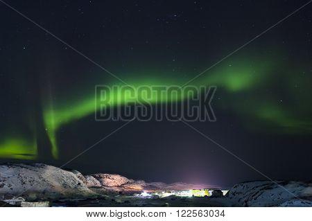 Aurora Green on Teriberka in the Murmansk region Russia