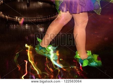 female legs in green shoe covers, splashes of soap bubbles, girl standing in a soap bubble, soap bubbles show, the play of light in the suds, colorful splashes feet girl, girl goes
